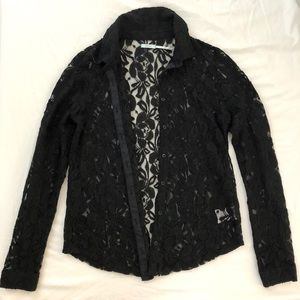NWOT Kimchi Blue Black Lace Button Down Size S